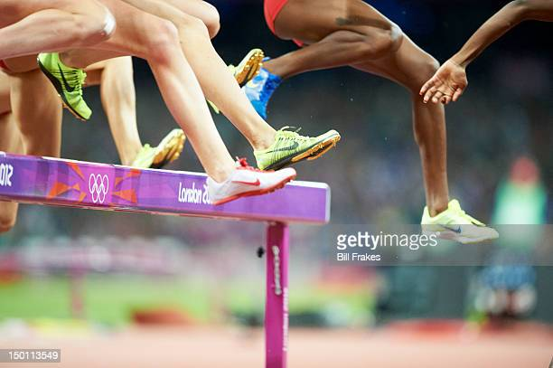 2012 Summer Olympics View of runner's legs during Women's 3000M Steeplechase Final at Olympic Stadium Zaripova wins gold London United Kingdom...