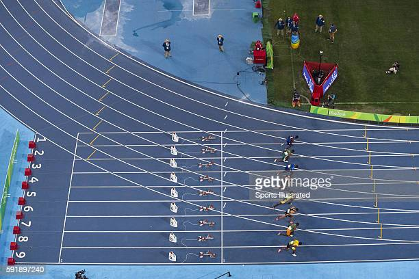 Summer Olympics: Aerial view of sprinters in action during Men's 100M Final at Rio Olympic Stadium. Jamaica Usain Bolt wins Gold. Rio de Janeiro,...