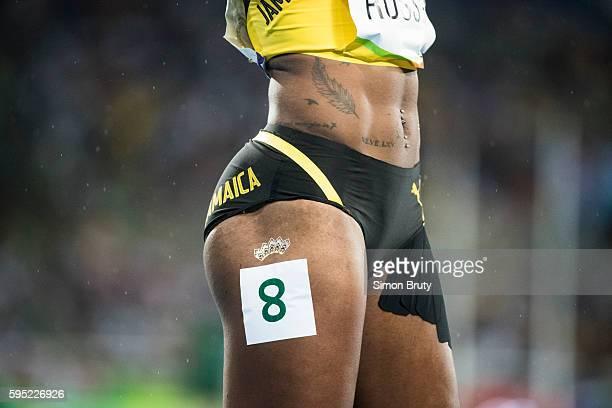 2016 Summer Olympics Closeup of Jamaica Janieve Russell's leg during Women's 400M Hurdles Final at Rio Olympic Stadium Rio de Janeiro Brazil...