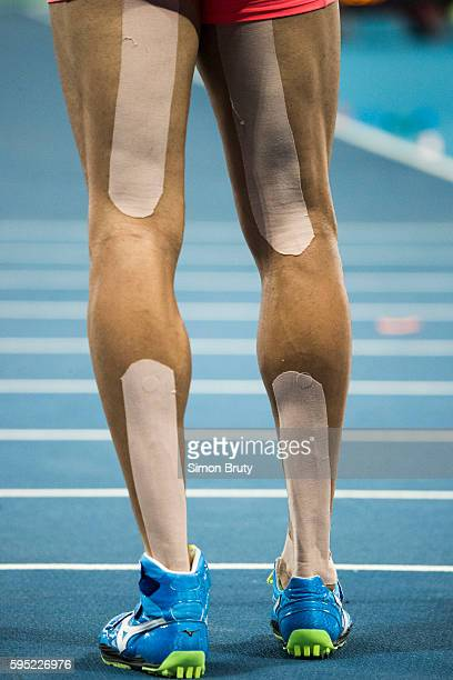 2016 Summer Olympics Closeup rear view of Japan Keisuke Ushiro's legs with kinesio tape during Men's Decathon Javelin Throw Group B at Rio Olympic...