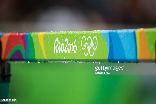 2016 Summer Olympics Closeup view of Rio 2016 logo and Olympics Rings on hurdle at the Olympic Stadium Rio de Janeiro Brazil 8/15/2016 CREDIT Simon...