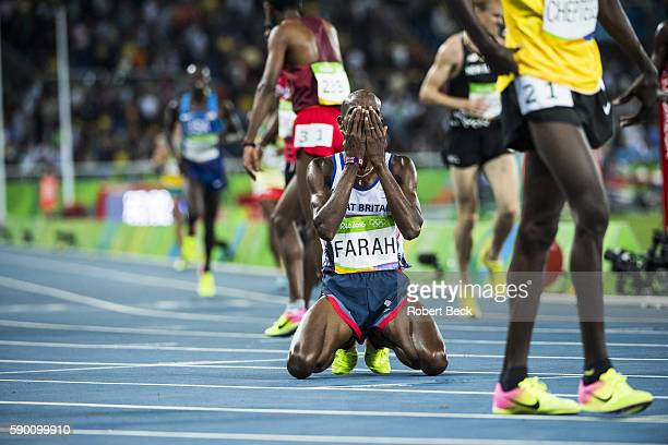 2016 Summer Olympics Great Britain Mohamed Farah victorious down on knees after winning Men's 10000M Final at Olympic Stadium Farah wins gold Rio de...