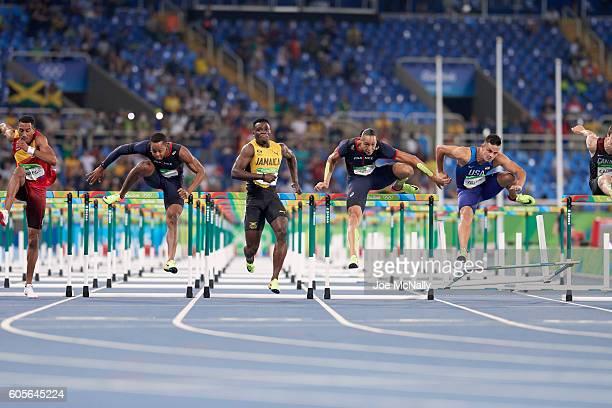 2016 Summer Olympics Jamaica Omar McLeod Spain Orlando Ortega France Dimitri Bascou France Pascal MartinotLagarde and USA Devon Allen in action...