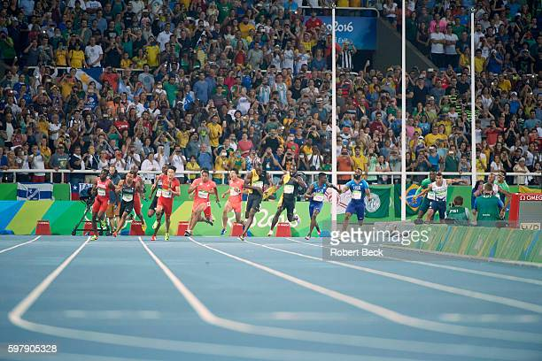 2016 Summer Olympics Jamaica Usain Bolt in action winning gold medal in Men's 4x100M Relay Final at Rio Olympic Stadium Rio de Janeiro Brazil...