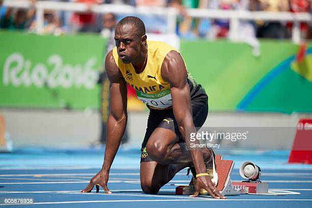 2016 Summer Olympics Jamaica Usain Bolt on starting blocks before Men's 200M Round 1 race at Rio Olympic Stadium Rio de Janeiro Brazil 8/16/2016...