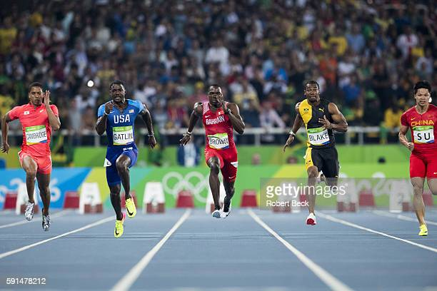 2016 Summer Olympics Japan Aska Cambridge USA Justin Gatlin Bahrain Kemarley Brown Jamaica Yohan Blake China Su Bingtian in action during Men's 100M...