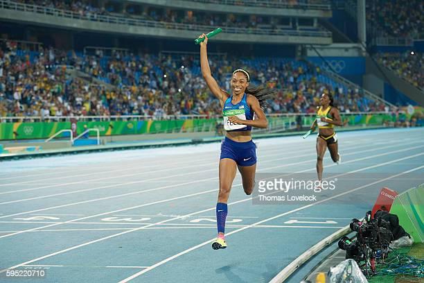 2016 Summer Olympics USA Allyson Felix victorious after Women's 4x400M Relay Final at Riocentro Rio de Janeiro Brazil 8/20/2016 CREDIT Thomas Lovelock