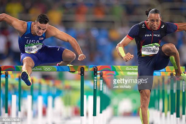 2016 Summer Olympics USA Devon Allen and France Pascal Martinot Lagarde in action during Men's 110M Hurdles Semifinals at Rio Olympic Arena Rio de...