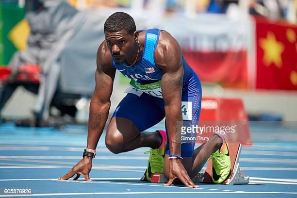2016 Summer Olympics USA Justin Gatlin on starting blocks before Men's 200M Semifinal at Rio Olympic Stadum Rio de Janeiro Brazil 8/16/2016 CREDIT...