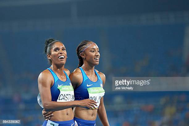 2016 Summer Olympics USA Kristi Castlin with USA Brianna Rollins after Women's 100M Hurdles Final at Rio Olympic Stadium Castlin wins bronze Rollins...