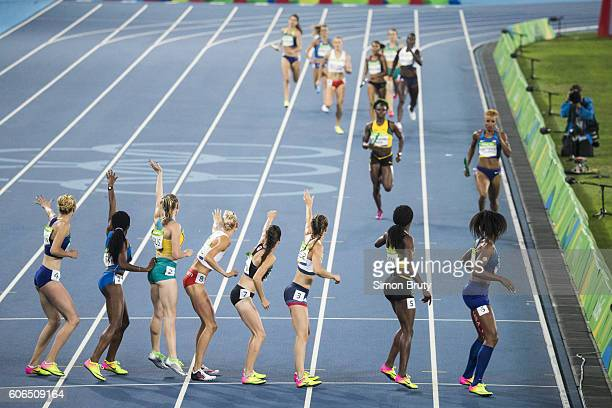 Summer Olympics: USA Phyllis Francis and USA Courtney Okolo in action during Women's 4X400M Relay Final at Maracana Stadium. Rio de Janeiro, Brazil...
