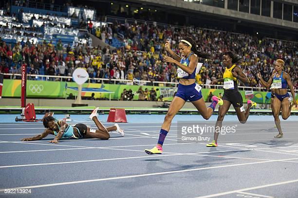 2016 Summer Olympics View of Bahamas Shaunae Miller USA Allyson Felix Jamaica Shericka Jackson USA Natasha Hastings in action crossing finish line...
