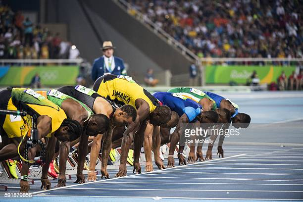 2016 Summer Olympics View of Jamaica Usain Bolt and competitors in action at starting block during Men's 100M Final at the Olympic Stadium Rio de...