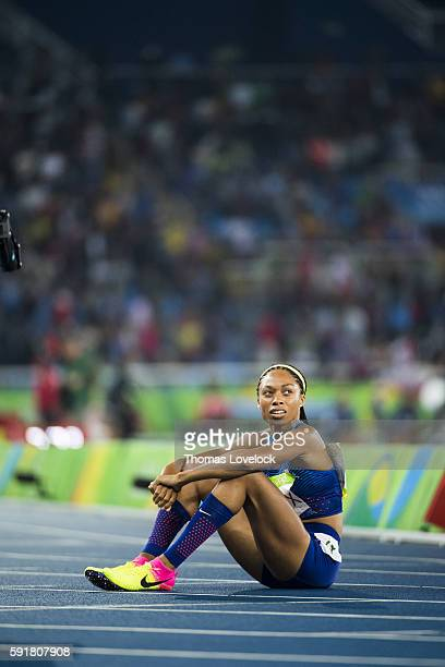 2016 Summer Olympics View of USA Allyson Felix after winning Silver in the Women's 400M Final at the Olympic Stadium Rio de Janeiro Brazil 8/15/2016...