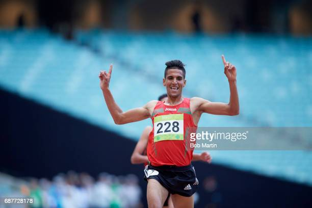 4th Islamic Solidarity Games Morocco Youness Essalhi victorious in action during Men's 5000M Final at Baku National Stadium Baku Azerbaijan 5/16/2017...