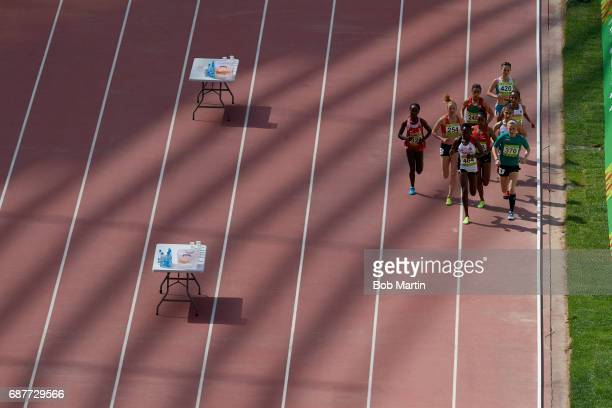 4th Islamic Solidarity Games Turkey Yasemin Can leading pack of runners during Women's 10000M at Baku Olympic Stadium Can wins gold Baku Azerbaijan...