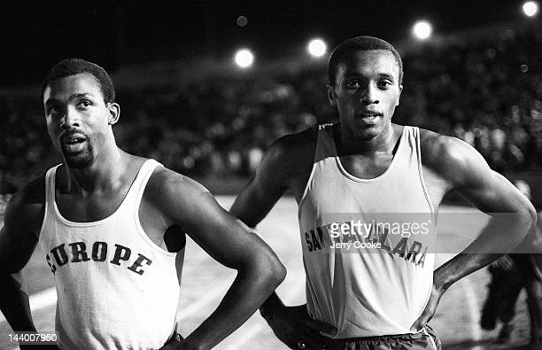 National Championships: Closeup of Europe John Carlos and Santa Clara Tommie Smith after race at Hughes Stadium on Sacramento City College campus....