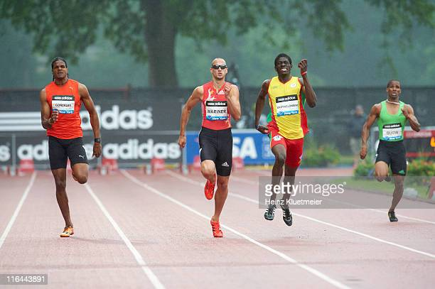 Adidas Grand Prix Jamaica Germaine Gonzales USA Jeremy Wariner and Grenada Rondell Bartholomew in action during Men's 400M race at Icahn Stadium on...