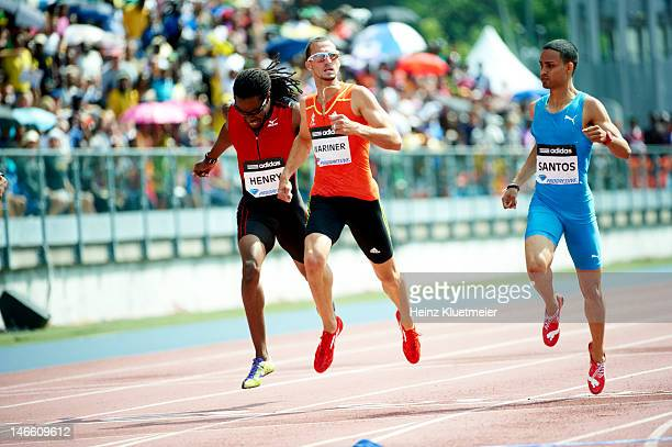 Adidas Grand Prix United States Virgin Islands Tabarie Henry USA Jeremy Wariner and Dominican Republic Luguelin Santos in action during Men's 400M...