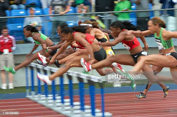 Adidas Grand Prix USA Danielle Carruthers USA Kellie Wells and USA Lolo Jones in action during Women's 100M hurdles at Icahn Stadium on Randall's...
