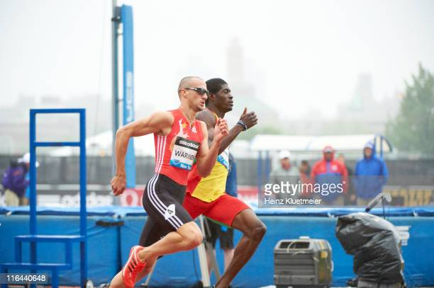 Adidas Grand Prix USA Jeremy Wariner in action vs Grenada Rondell Bartholomew during Men's 400M race at Icahn Stadium on Randall's Island IAAF...