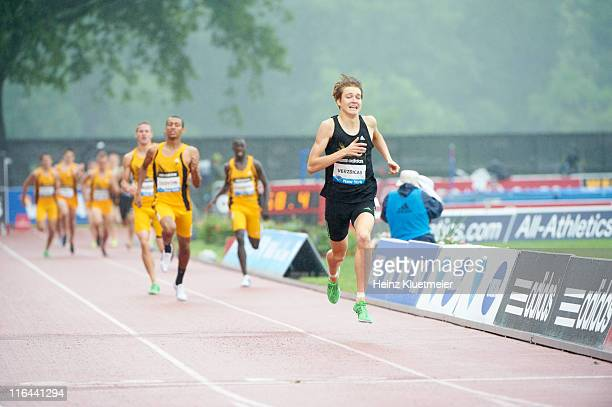 Adidas Grand Prix USA Lukas Verzbicas in action setting record 35971 during High School Boys' Dream Mile at Icahn Stadium at Randall's Island IAAF...