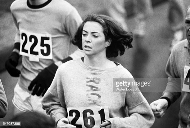 Boston Marathon USA Kathrine Switzer in action during race Women were not officially included in the race until 1972 Ashland MA CREDIT Walter Iooss Jr
