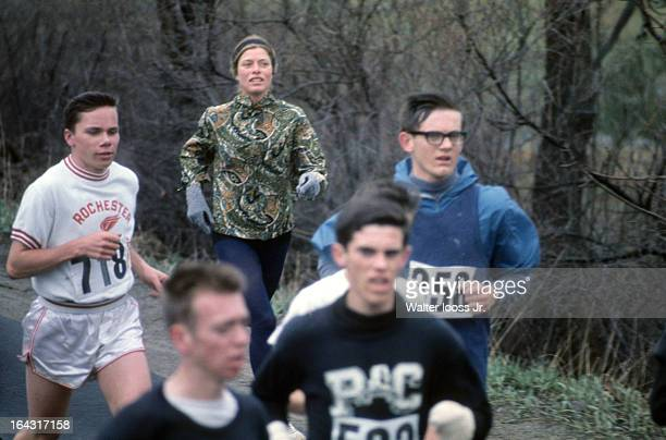 Boston Marathon USA Roberta Gibb in action during race Bobbi Gibb runs without a bib as women were not allowed to officially race unitl 1972 Boston...