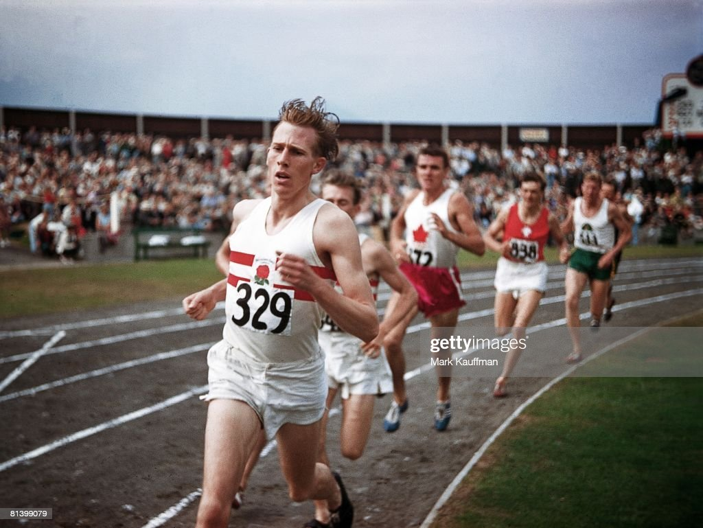 British Empire and Commonwealth Games, GBR Roger Bannister in action during mile race, Vancouver, CAN 8/2/1954
