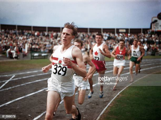 Track Field British Empire and Commonwealth Games GBR Roger Bannister in action during mile race Vancouver CAN 8/2/1954