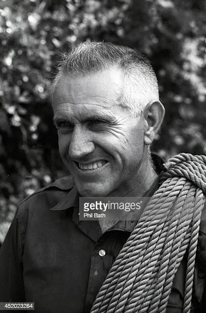 Closeup portrait of former Olympian Louis Zamperini with climbing gear at Mammoth Mountain. Zamperini, a prisoner of war survivor from World War II,...