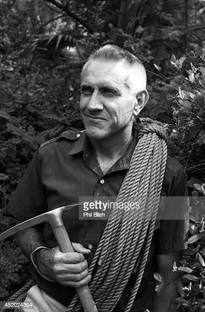Closeup portrait of former Olympian Louis Zamperini with climbing gear at Mammoth Mountain Zamperini a prisoner of war survivor from World War II...