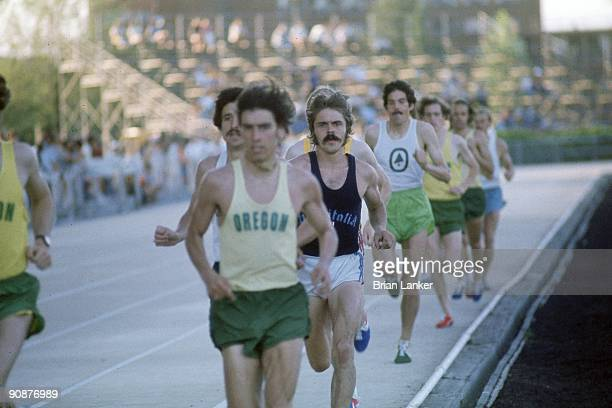 Finland Track Meet Steve Prefontaine in action vs Frank Shorter during 5000M race at Hayward Field Last race before passing away Eugene OR 5/30/1975...
