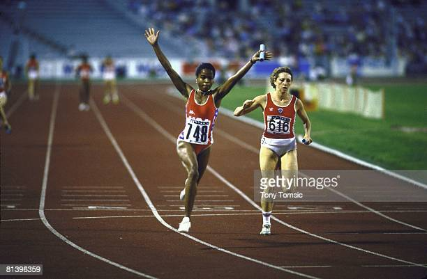 Track Field Goodwill Games USA Evelyn Ashford victorious after winning race 4X400M relay race Moscow USR 7/1/1986