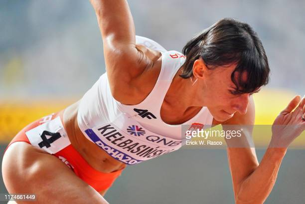 World Athletics Championships: Closeup of Poland Anna Kielbasinska in action during Women's 400M First Round at Khalifa International Stadium. Doha,...