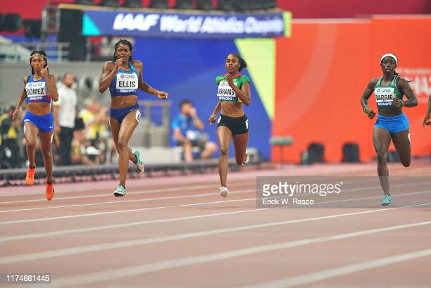IAAF World Athletics Championships Cuba Roxana Gomez USA Kendall Ellis Guyana Aliya Abrams and Sierra Leone Maggie Barrie in action during Women's...
