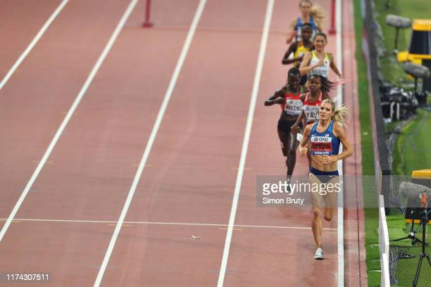 World Athletics Championships: USA Emma Coburn in action during Women's 3000M Steeplechase Final at Khalifa International Stadium. Coburn wins...