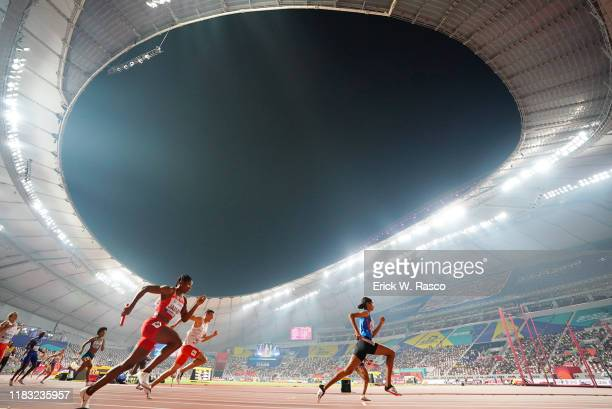 World Athletics Championships: View of runners during 4x400M Mixed Final at Khalifa International Stadium. Doha, Qatar 9/29/2019 CREDIT: Erick W....