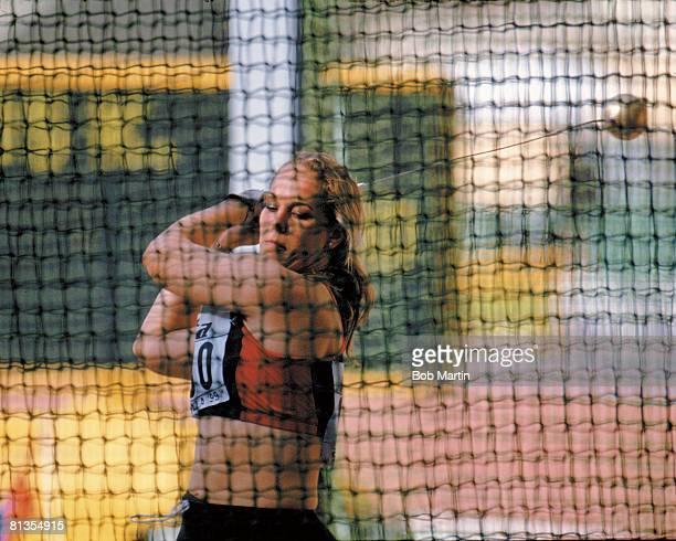 Track Field IAAF World Championships Closeup of HUN Katalin Divos in hammer action during competition Sevilla ESP 8/24/1999