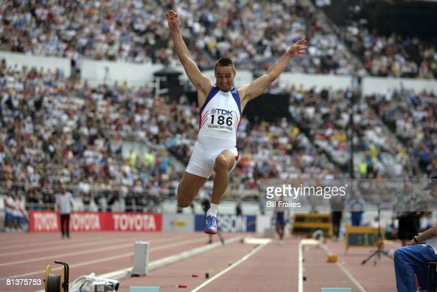 Track & Field: IAAF World Championships, CZE Roman Sebrle in long jump action during morning session decathlon, Helsinki, Finland 8/9/2005