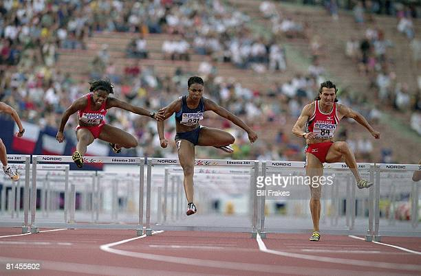 Track Field IAAF World Championships USA Anjanette Kirkland in action during 100M hurdles Edmonton CAN 8/10/2001