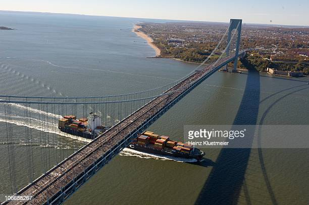 ING New York City Marathon Aerial scenic view from helicopter of miscellaneous action crossing Verrazano Narrows Bridge New York City NY 11/7/2010...