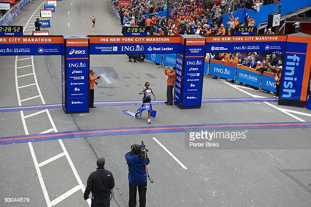 ING New York City Marathon Ethiopia Derartu Tulu in action crossing finish line and winning women's division with time of 022852 in Central Park New...
