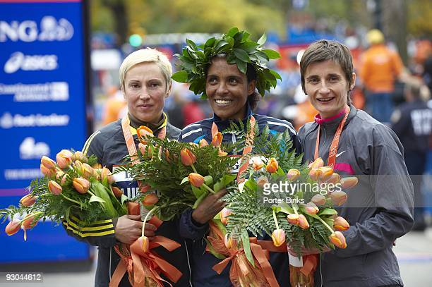 ING New York City Marathon Russia Ludmila Petrova Ethiopia Derartu Tulu and France Christelle Daunay victorious after winning women's division in...