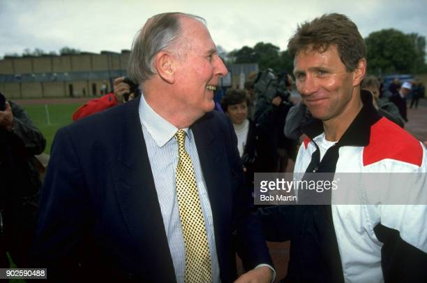 Milers Reunion Closeup portrait of Roger Bannister with Eamonn Coghlan at Iffley Road track Oxford England 5/4/1994 CREDIT Bob Martin