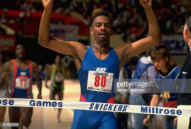 Track Field Millrose Games Closeup of Mark Everett in action and victorious at finish line after winning Mel Sheppard 600M race New York NY 2/1/1991