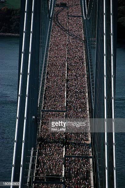 New York City Marathon Aerial scenic view from helicopter of miscellaneous action crossing Verrazano Narrows Bridge New York City NY CREDIT Neil...