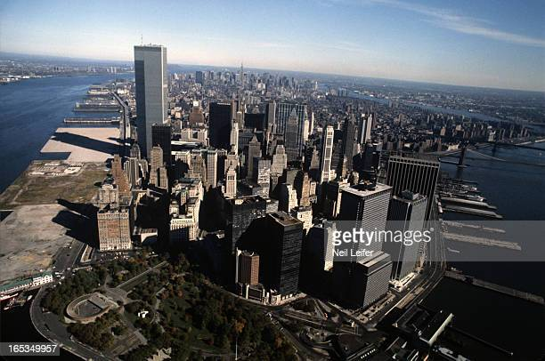 New York City Marathon Aerial scenic view from helicopter of World Trade Center and Lower Manhattan skyline during race New York NY CREDIT Neil Leifer