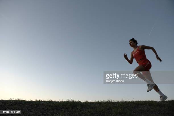 Portrait of USA runner Alexi Pappas in action during training session phoot shoot near her family home in Woodland Hills neighborhood. Los Angeles,...