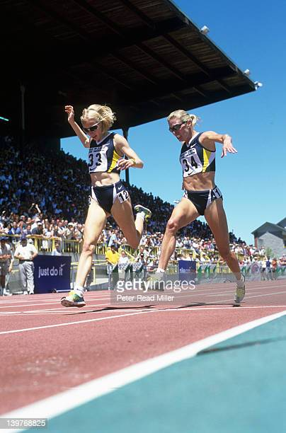 Prefontaine Classic Gabriela Szabo in action leading and winning vs Suzy Favor Hamilton during Women's 1500M race at Hayward Field Eugene OR CREDIT...